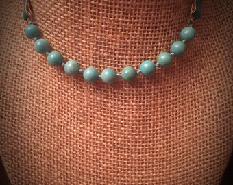 Turquoise Beaded Choker Style Necklace