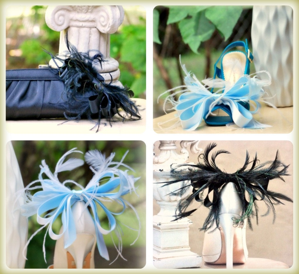 Shoe Clips Blue White Bow. Anemone Plumes Bow. White French Christian Louboutin InspiRouge , Sophisticated StateHommes t, Bleu Spring Wedding Bold Extravagant 7fb289