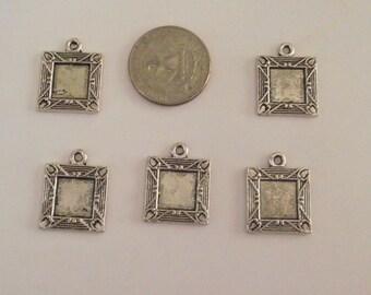 Ensemble de 5 cadres de carrés de couleur argent pour bijoux