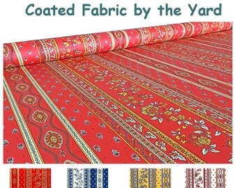 New : Large 61 inches wide Laminated Coated Fabric by the Yard - Provence Avignon Collection -  Waterproof Acrylic Coated Fabric -