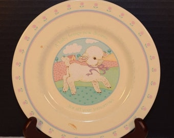 Delayed Shipping Baby Lamb Hallmark Plate 1984 Vintage A baby brings new dreams Children's plate Baby's First Plate Made in Japan Child Plat