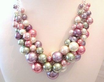 "The ""Shades of Spring"" Pearl Cluster Necklace - Chunky, Choker, Bib, Necklace, Wedding, Bridal, Bridesmaid, Prom, Formal"