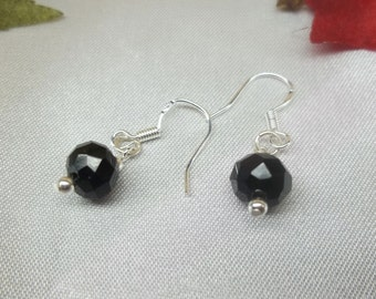 Black Spinel Earrings Dangle Earrings 925 Sterling Silver Earrings or 14k Gold Filled Earrings BuyAny3+Get1 Free