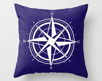 Compass Pillow with insert - Navy Blue and White - Modern Pillow with insert - Compass Graphic Pillow - Nautical Home Decor -