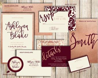 Blush and Burgundy Invitation Suite, Burgundy Wedding Invitations, Blush and Burgundy, Wedding Invitation Suite, Burgundy Wedding Invitation