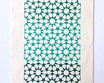 linocut - STARS - 8x10 / printmaking / block print / blue, green / geometric / tesselation / original art / celestial / ten-pointed star