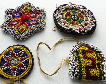 Vintage Tribal Talisman:  Kuchi Beaded Remnant, Gul I Peron Patch Set #2