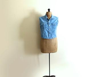 vintage vest jean denim 90s utility blue cropped 1990s womens clothing size large l
