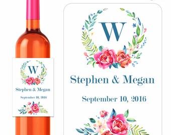 Custom Floral Monogram Wedding Wine Labels Personalized Flower Bouquet Designer Labels Waterproof Vinyl 3.5 x 5 inch