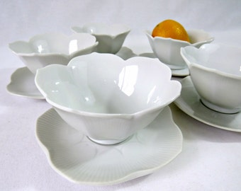 Vintage Japanese Rice Bowls - White Lotus Bowls and Saucers - Set of 5 Fondue Sauce Tulip Bowls and Plates