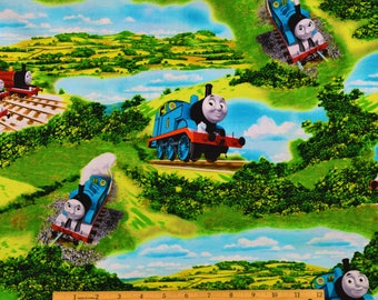 Thomas the Train Fabric Thomas Scenic Fabric From Quilting Treasures 100% Cotton