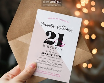 BY343 DIGITAL 21st Birthday Party Invitation - modern minimal diagonal stylish typography invite printable 18th 30th 40th 50th 60th pink