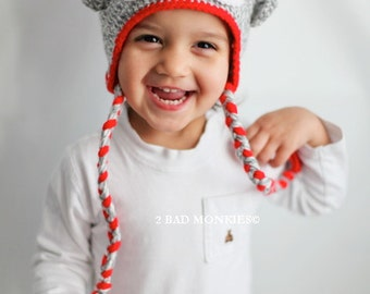 Sock monkey hat, Baby Christmas hat, Toddler Christmas hat, Toddler Winter hat, Christmas hat, Christmas hat for kids, Christmas hat baby