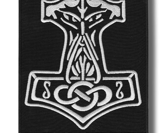 Thors hammer - embroidered back patch, 30x24 cm