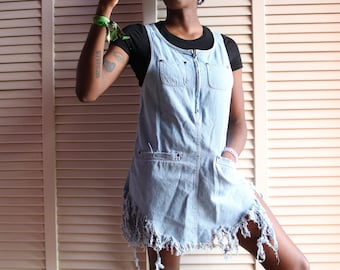 Vintage Light Wash Denim Fringe Dungarees/ Overall Dress