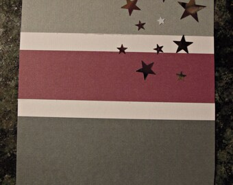Birthday card - Purple & grey (stars, right)