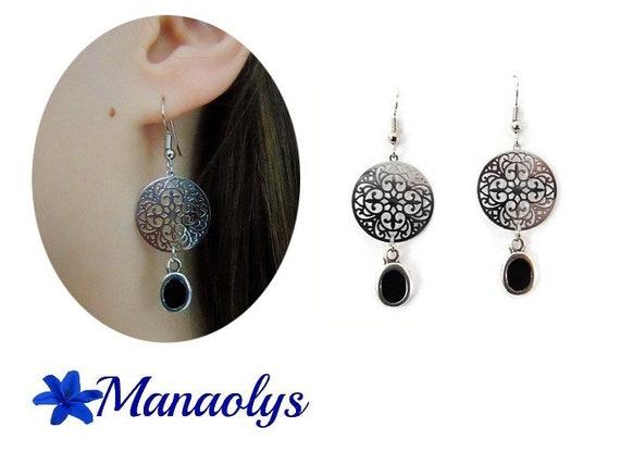 Earrings black and silver filigree, enamel, Celtic earrings