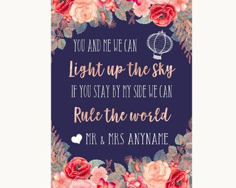 Navy Blue Blush Rose Gold Light Up The Sky Rule The World Wedding Sign