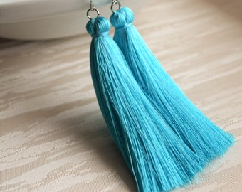 Light blue tassel earrings Bridesmaid earrings Long Boho earrings Bohemian earrings Turquoise jewelry Blue jewelry Gift for her