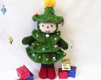 Christmas tree doll. Toy knitting pattern. Christmas decoration. PDF instant download knitting pattern.