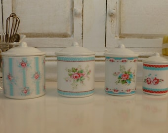Dollhouse Miniature Cottage Flowers Metal Kitchen Canisters in 1:12 Scale