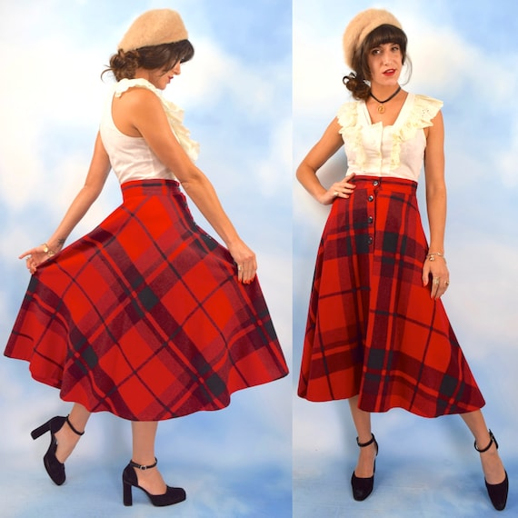 Vintage 70s does 50s Red and Black Buffalo Plaid High Waisted Button Front Full A Line Skirt (size small, medium)
