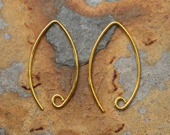 Bali Vermeil Marquise Earwires 24mm x 14mm Low Shipping