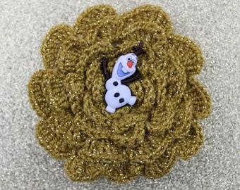 Olaf You Very Much Crochet Flower Hair Barrette
