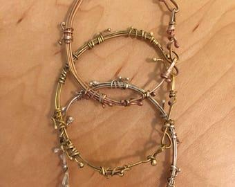 Twisted Wire Bangle Bracelet Brass, Bronze, Sterling