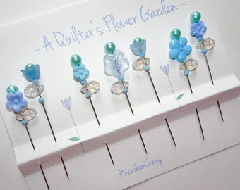 Blue Quilting Pins - A Quilter's Flower Garden - Gift For Quilter - Fancy Sewing Pins - Retreat Gift - Sewing Accessory - ONE SET ONLY