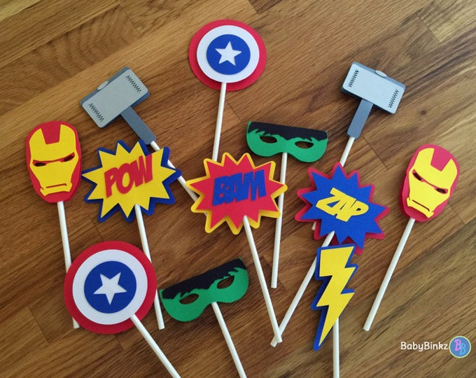 Die Cut Avengers Super Hero Cupcake Toppers - marvel inspired captain america the hulk thor ironman birthday party decorations wedding