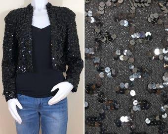 80s Disco Black Sequined Lurex Cropped Blazer Jacket, Size Small to Medium