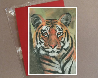 """Tiger (2) card 5 x 7"""" with envelope"""