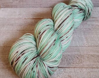 DYED TO ORDER: Hand Dyed Speckled Yarn ~ Mint Chocolate Chip ~