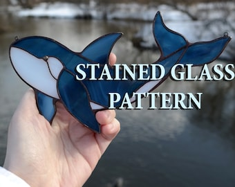 Stained glass orca suncatcher pattern Stained glass whale pattern Glass whale pattern Mosaics whale pattern