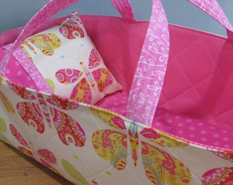 Doll Carrier, Butterfly, Pink Lining, Will Fit Bitty Baby and Wellie Wisher Dolls, 16 Inch Doll Carrier, Baby Doll Basket