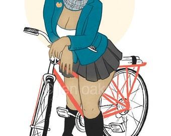 "Curvy Pinup - 8x10 art print / fat, bbw, body positive, academic schoolgirl black woman with bike ""Off Campus"""