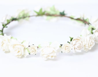 White Bridal Flower Crown, Floral Crown, White Flower Crown, Wedding, Floral Crown, Rose Floral Headpiece, Girls Flower Crown, Ivory Crown