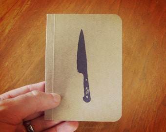 Chef Knife Notebook, Cooking Journal, Original Handmade Mini Diary and Jotter, Recipe Notebook