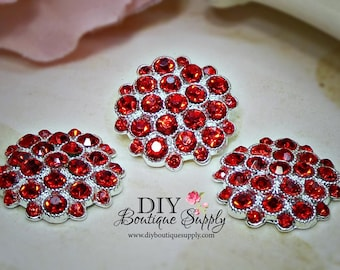 Valentine's Day RED Crystal Rhinestone buttons Metal  Rhinestone Flatback Crystal Embellishment flower centers Scrapbooking 5pcs 25mm 443061