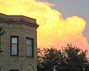 Chicago Photo, Chicago Photography, greystone, clouds, architecture, Chicago Art, Logan Square, apartment, Maxfield Parrish-style, decor