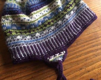 Nordic design  ear flap hat hand knit