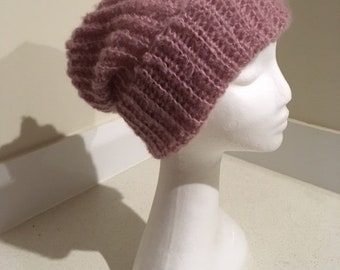 Cuffed Slouch Hat in Pink