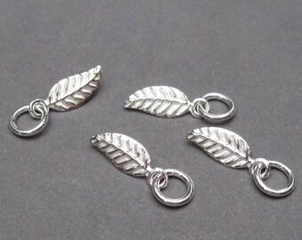Leaf Sterling Silver Charm, Leaf Necklace Pendant, Leaf Bracelet Charm with Sterling Silver Jump Ring