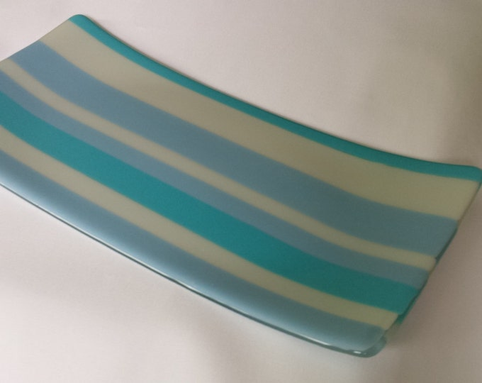 In the blues. Fused glass decorative art tray or platter.
