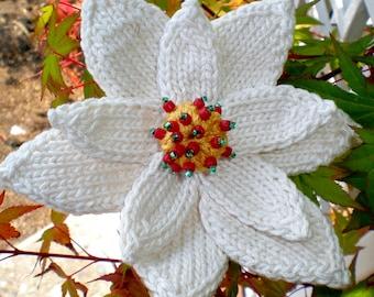 Poinsettia Flower Instant Download PDF Knitting Pattern