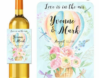 Wedding Wine Labels Personalized Love Is In The Air Hot Air Balloon Watercolor Flowers Dragonflies Labels Waterproof Vinyl