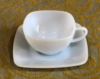 "Blue Milk Glass-Azurite ""Charm""-Square Cup and Saucer-Anchor Hocking Fire King"