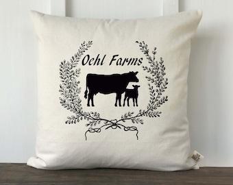 Farmhouse Personalized Pillow Cover, Custom Farm Name Pillow, Wedding gift, Anniversary Gift, Housewarming gift, Farmer gift