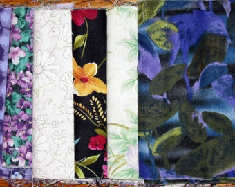 Blue & Green Floral Fat 1/8's, Quilt Fabric, Floral Decor Fabric, Quiltsy Destash Party